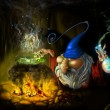 Drawing fairy sly wizard in cave