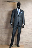 Business dark grey suite on mannequin — Stock Photo