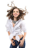 Sexy smiling woman in white shirt — Stock Photo