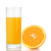 Orange juice and orange — Stock Photo
