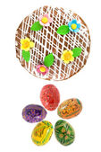 Top view of easter eggs and cake — Stock Photo