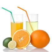 Kalk en sinaasappelsap met sinaasappel — Stockfoto