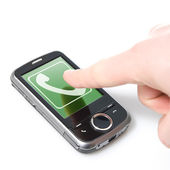 Finger and pda with incoming call — Stock Photo