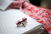 Close-up photo of stud on white shirt with red tie — Stock Photo