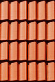 Close-up orange tile on roof in carpathians castle — Stock Photo