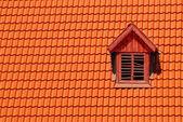 Orange roof tile in carpathians castle — Stock Photo