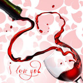 Heart from pouring red wine in goblet isolated on white — Photo