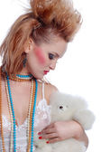 Girl with teddy — Stock Photo