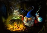 Drawing fairy sly wizard in cave — Stock Photo