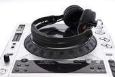Dj mixer with headphones isolated on white — Stock Photo