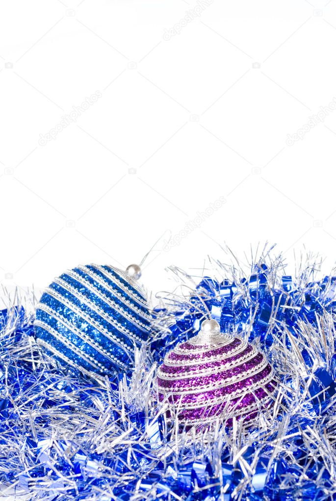 Pink and blue christmas balls with decoration isolated on white — Photo #3380126