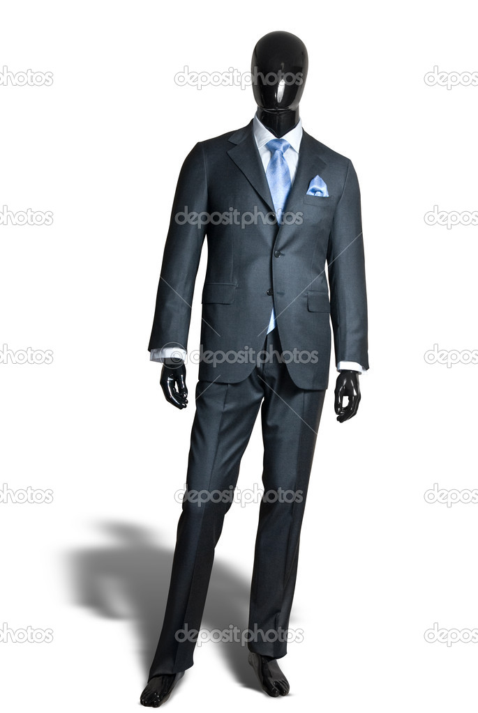 Business dark grey suite on mannequin isolated on white  Stock Photo #3381260