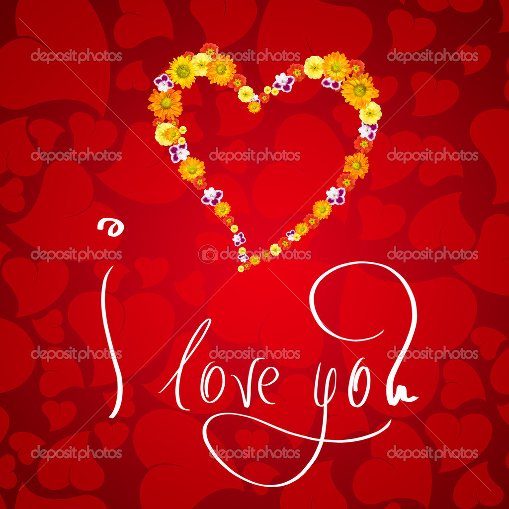I love you. Card for Valentines day with small heart from flowers — Stock Photo #3384144