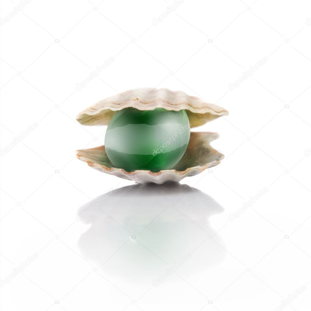 Stylized green pearl isolated on white — Stockfoto #3385091