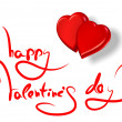 Greetings for valentine&#039;s day and red hearts isolated on white -  