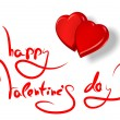 Greetings for valentine's day and red hearts isolated on white — Stockfoto