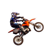 Young moto rider in the air isolated on white — Stock Photo