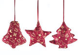 Christmas decorations - bell, star and fir-tree — Stock Photo