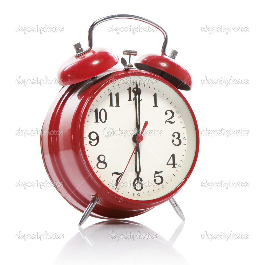 Red old style alarm clock isolated on white  Stock Photo #3438034