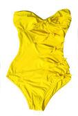 Yüzme takımı üzerine beyaz izole sarı kadın — Stok fotoğraf