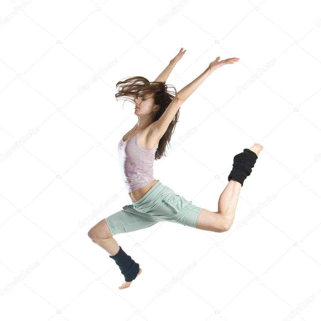 Jumping young dancer isolated on white background — Stock Photo #3627297