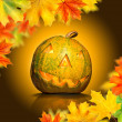 Halloween pumpkin with leaves — Stok fotoğraf