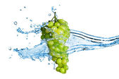 Green grape with water splash isolated on white — Stock Photo