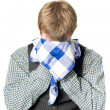 Depressed or sick man with handkerchief — Stock Photo
