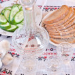 Stock Photo: Vodka, bread and sliced cucumber