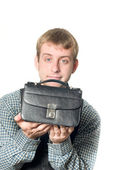 Business offer - man with handbag — Stock Photo