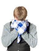 Depressed or sick man with handkerchief — Stock Photo
