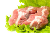 Pieces of Pork meat and green salad — Stock Photo