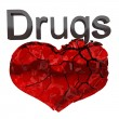 Stock Photo: Narcotics and Drugs are killing. Crashing heart isolated