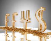 Golden Dollar, pound, euro and yen signs — Photo