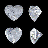 Top and side views of heart shaped diamond — Stock Photo