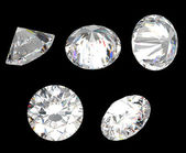 Top, bottom and different side views of diamond — Stock Photo