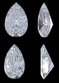 Top, bottom and side views of pear diamond — Stock Photo