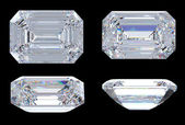 Top, bottom and side views of Emerald diamond — Stock Photo