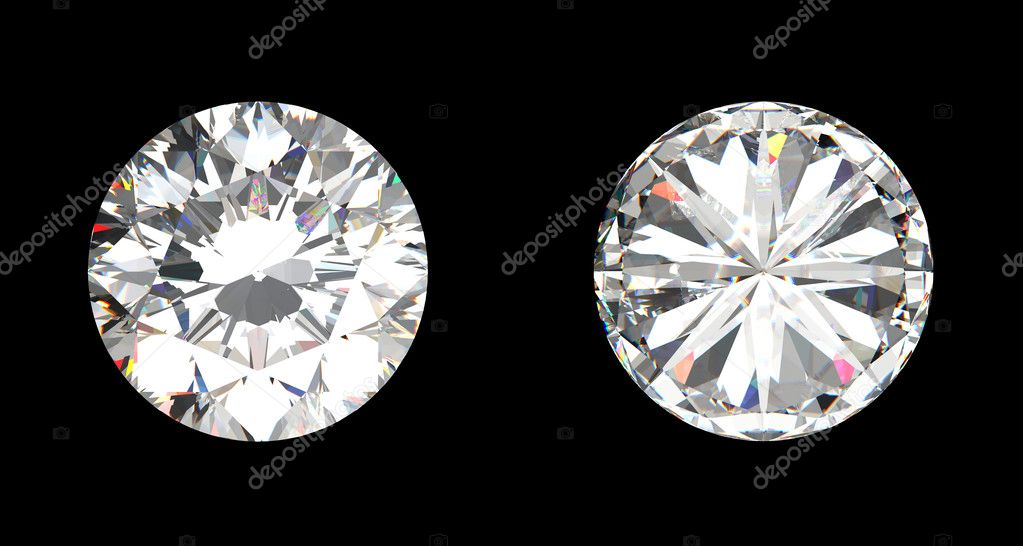Top and bottom view of large diamond over the black background  Stock Photo #3304913