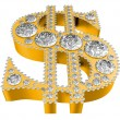 Golden 3D Dollar symbol incrusted with diamonds — Stock Photo