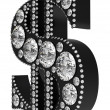 3D Dollar symbol incrusted with diamonds isolated — Stock Photo