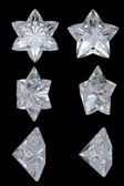 Five pointed, six point diamond stars — Stock Photo