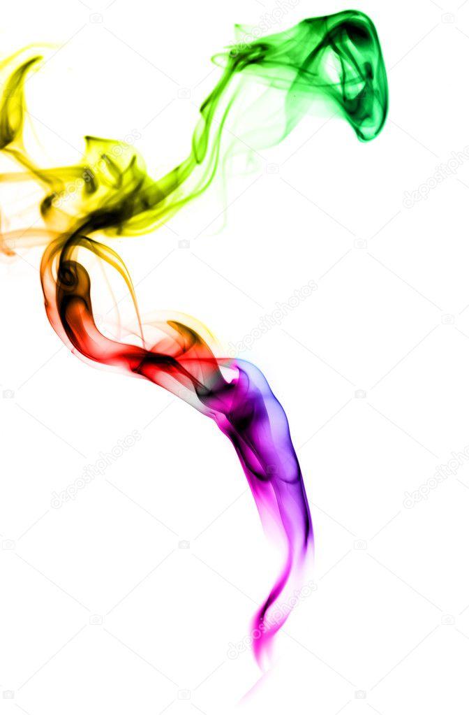 渐变色的烟抽象形状在白色背景