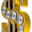 Stock Photo: Golden 3D Dollar symbol incrusted with diamonds