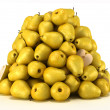 Pile or Heap of pears over white — Stock Photo