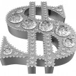 Silver 3D Dollar symbol incrusted with diamonds — Stock Photo