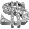 Silver 3D Dollar symbol incrusted with diamonds — Stock Photo #3432327