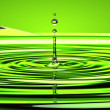 Water droplet and waves over green — Stok fotoğraf