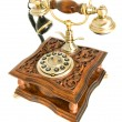 Antique telephone isolated over white - Foto Stock