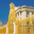 golden gate and palace facade in versailles — Stock Photo